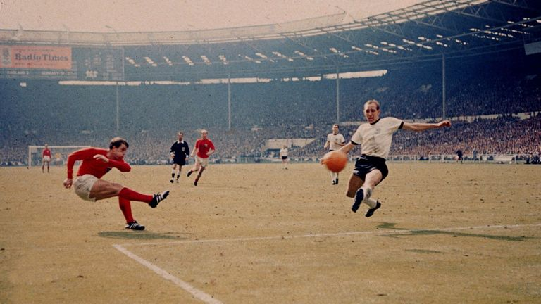 Geoff Hurst scores England's third goal against West Germany in the 1966 World Cup final