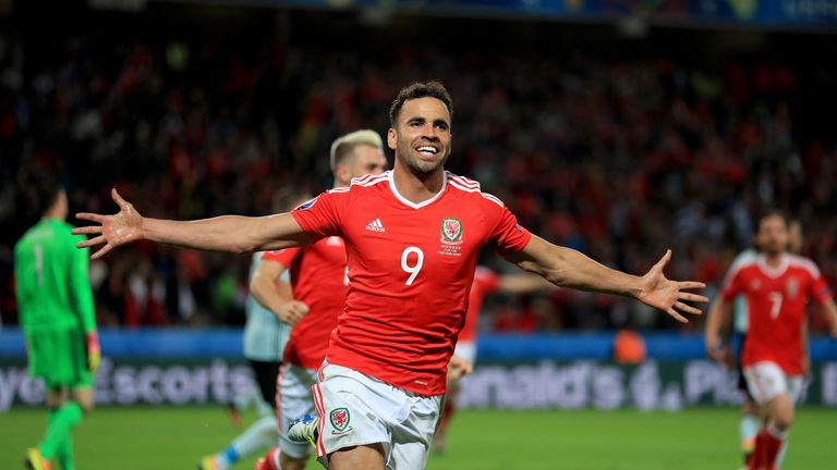 Wales' Hal Robson-Kanu celebrates scoring his side's second goal of the game during the UEFA Euro 2016, quarter final match at the Stade Pierre Mauroy, Lil