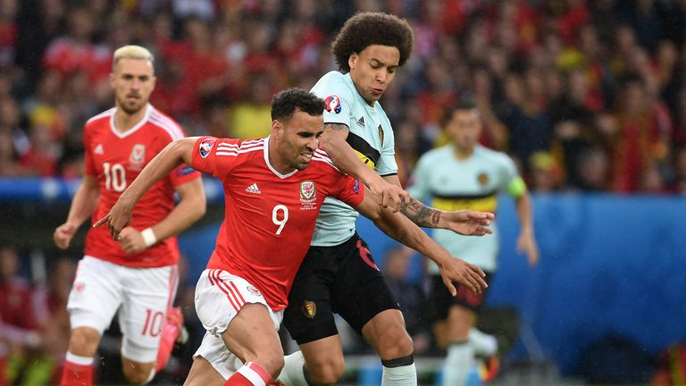 Wales' Hal Robson-Kanu (left) and Belgium's Axel Witsel battle for the ball
