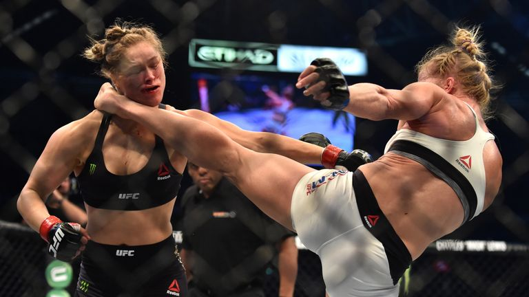 Holly Holm (R) knocked Rousey out in brutal fashion at UFC 193