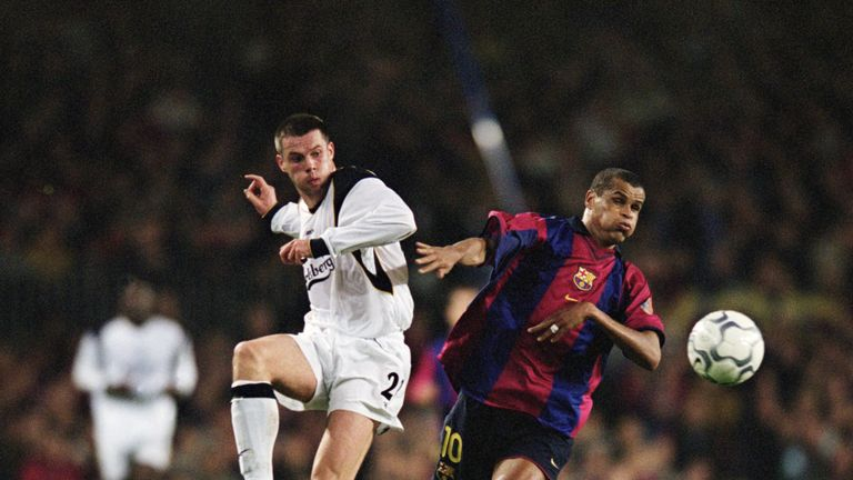 Jamie Carragher and Rivaldo in action at the Nou Camp in 2001
