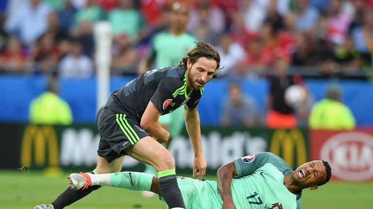 Joe Allen in action for Wales at Euro 2016