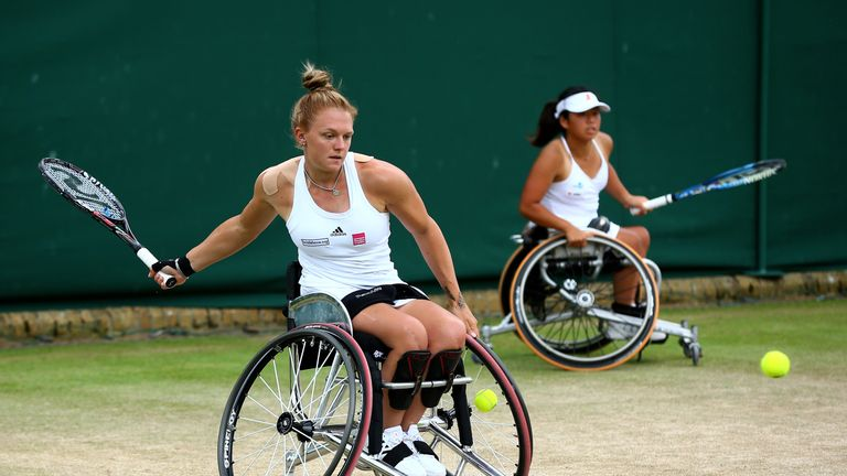 Whiley plays a forehand during the final