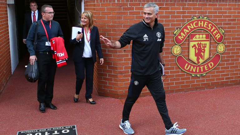 Mourinho was all smiles as he prepared to step onto the Old Trafford pitch