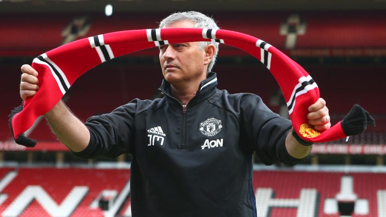 New Manchester United manager Jose Mourinho during his introduction to the media at Old Trafford on July 5, 2016 in Manchester