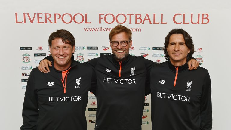 Jurgen Klopp manager of Liverpool, Zeljko Buvac First assistant coach and Peter Krawietz Second assistant coach during a training session at Melwood