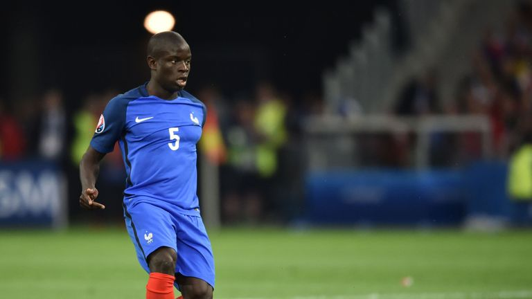 France's midfielder N'Golo Kante plays the ball during the Euro 2016 group A football match between France and Albania at the Velodrome stadium in Marseill