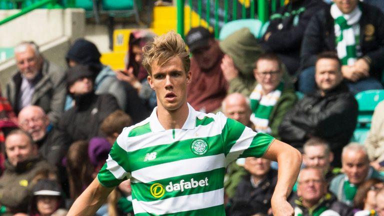 Kristoffer Ajer in action against Wolfsburg at Celtic Park