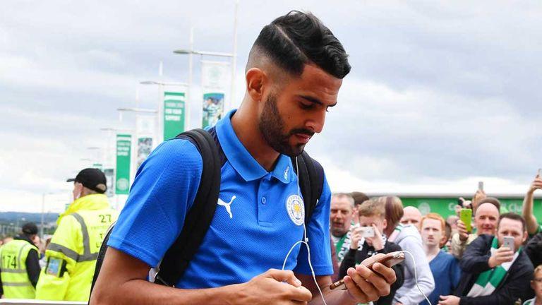 Leicester City's Riyad Mahrez arrives at Celtic Park, July 23 2016