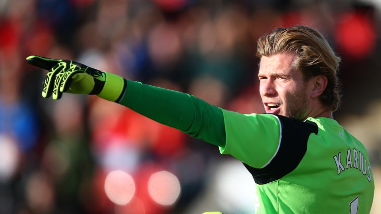 FLEETWOOD, ENGLAND - JULY 13: Louis Karius of Liverpool gestures during the Pre-Season Friendly match between Fleetwood Town and Liverpool at Highbury Stad