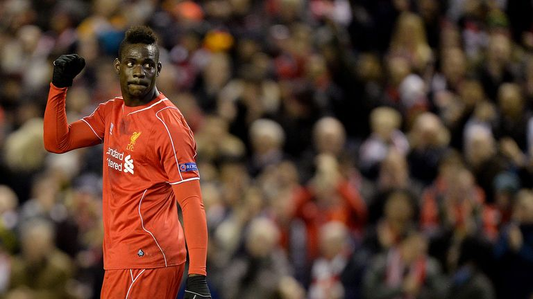 Liverpool's Mario Balotelli celebrates scoring his sides first goal of the game during the UEFA Europa League match at Anfield, Liverpool.