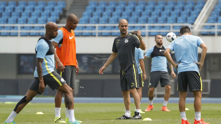Manchester City manager Pep Guardiola gestures during the pre-game training ahead of the 2016 International Champions Cup match v United