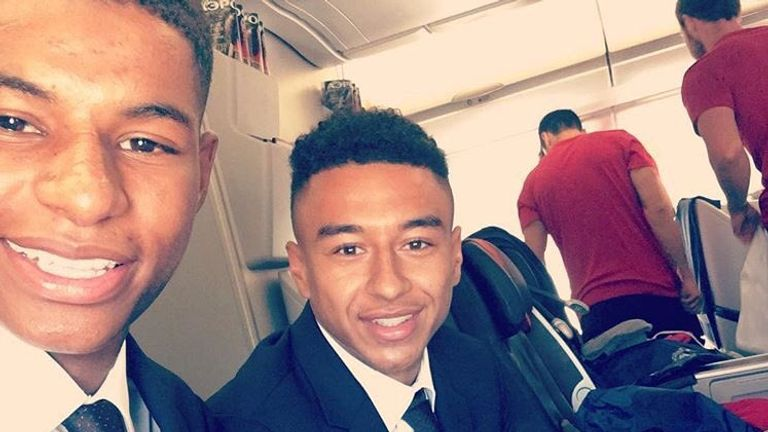 Marcus Rashford sat with friend Jesse Lingard on the Aeroflot flight (Credit: @marcusrashford)