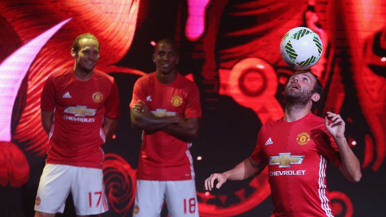 c9aeb25ff Juan Mata juggles the ball during Manchester United s kit launch