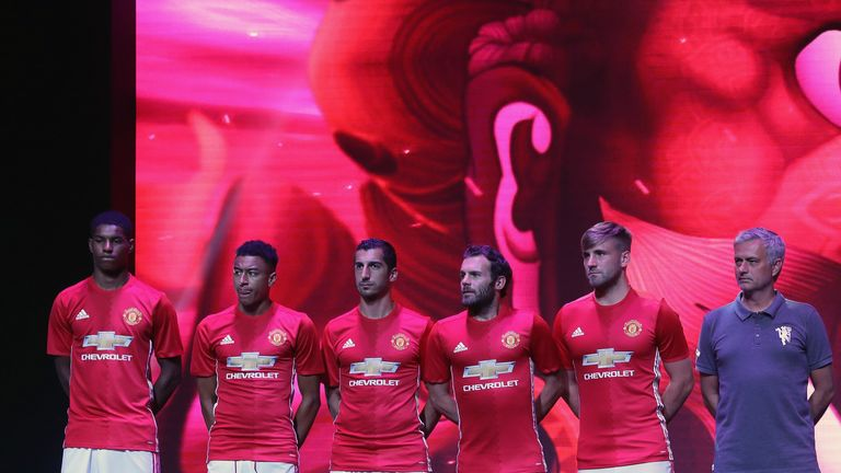 Marcus Rashford, Jesse Lingard, Henrikh Mkhitaryan, Juan Mata, Luke Shaw and Jose Mourinho of Manchester United launch the 2016/17 home kit in Shanghai