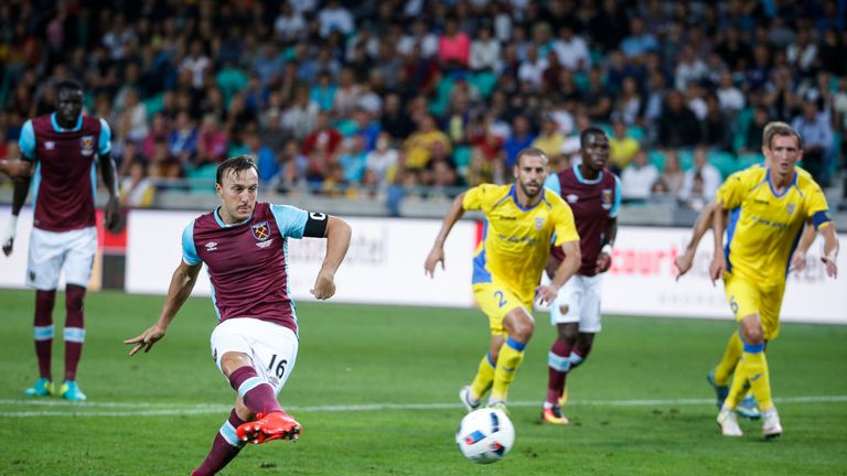 Mark Noble scores a penalty for West Ham in their Europa League qualifying tie with Slovenian side Domzale