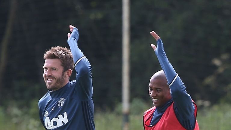 Michael Carrick and Ashley Young of Manchester United