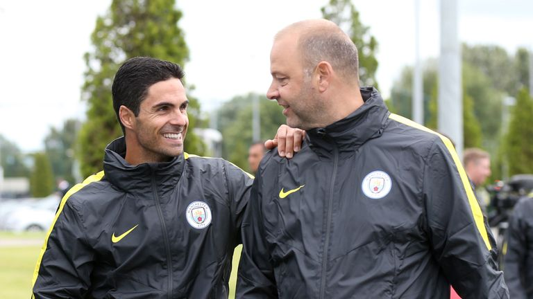 Mikel Arteta (L) has joined Man City  as a coach after retirement