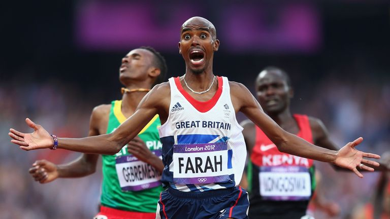 Farah crosses the finish line to win 5,000m gold at the London Olympics in 2012