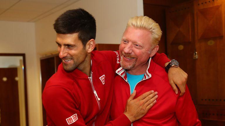 Boris Becker (R) spent a successful time coaching Novak Djokovic