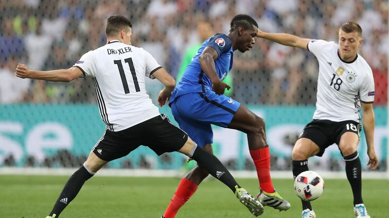 France midfielder Paul Pogba (centre) was largely stifled by Germany's midfield