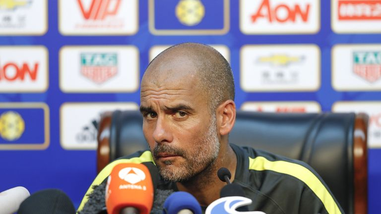 Manchester City manager Pep Guardiola attends a press conference for 2016 International Champions Cup match v Manchester United