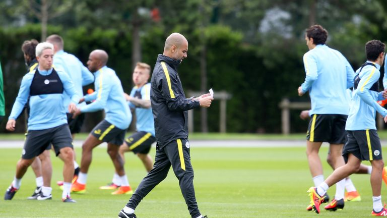 Manchester City manager Pep Guardiola during a training session at City Football Academy.