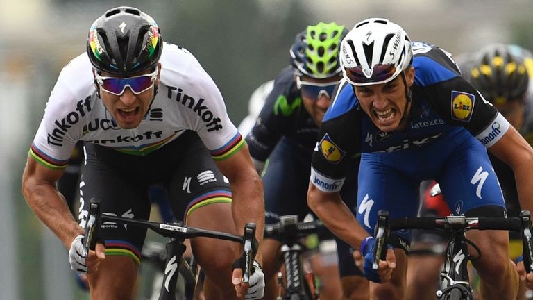 974e6f7aa Peter Sagan (left) beat Julian Alaphilippe (right) in an uphill sprint