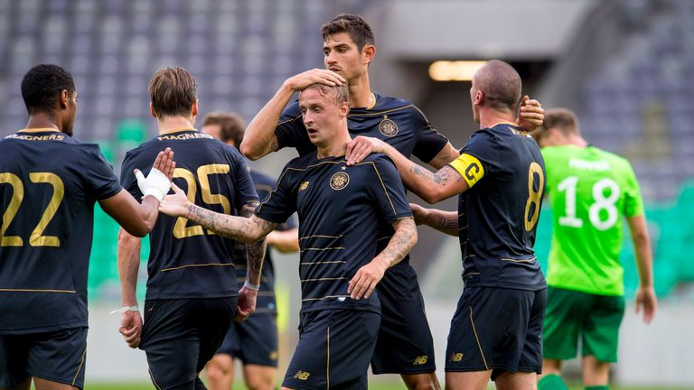 Celtic's Leigh Griffiths (centre) celebrates his goal with his team-mates