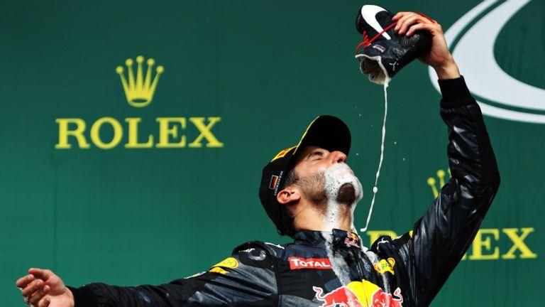 Daniel Ricciardo with his 'shoey' celebration at the German GP