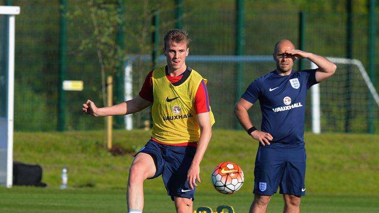 BURTON-UPON-TRENT, ENGLAND - MAY 16:  Rob Holding of England U21 during the England U21 Training Session and Press Conference at St Georges Park on May 16,