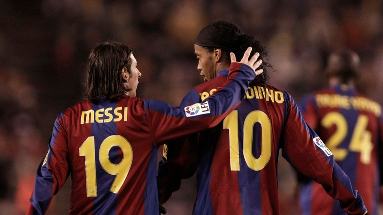 Ronaldinho played with Lionel Messi at Barcelona