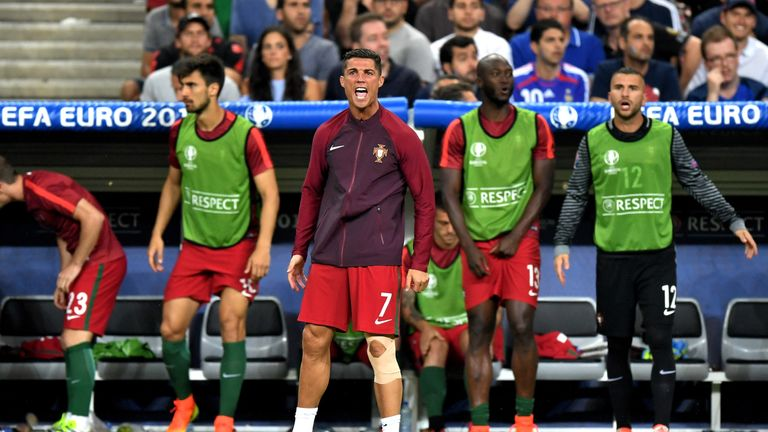 PARIS, FRANCE - JULY 10:  Cristiano Ronaldo of Portugal reacts during the UEFA EURO 2016 Final match between Portugal and France at Stade de France on July