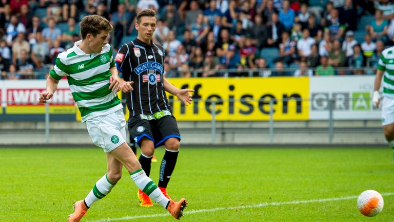 03/07/16 PRE-SEASON FRIENDLY .. STURM GRAZ V CELTIC .. STADUIM GRAZ LIEBENAU - AUSTRIA .. Celtic's Ryan Christie opens the scoring