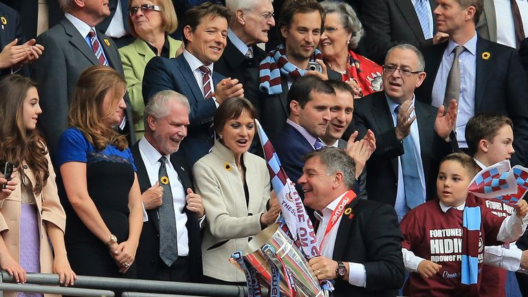 Sam Allardyce is congratulated by David Gold after guiding West Ham to Championship play-off final glory in 2012