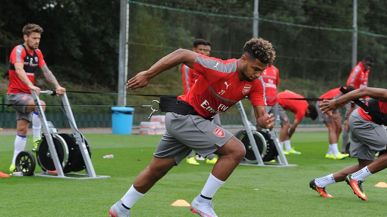 Serge Gnabry pictured during pre-season training with Arsenal