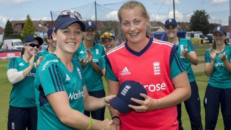 Sophie Ecclestone (r) made England debut in the T20I series Pakistan