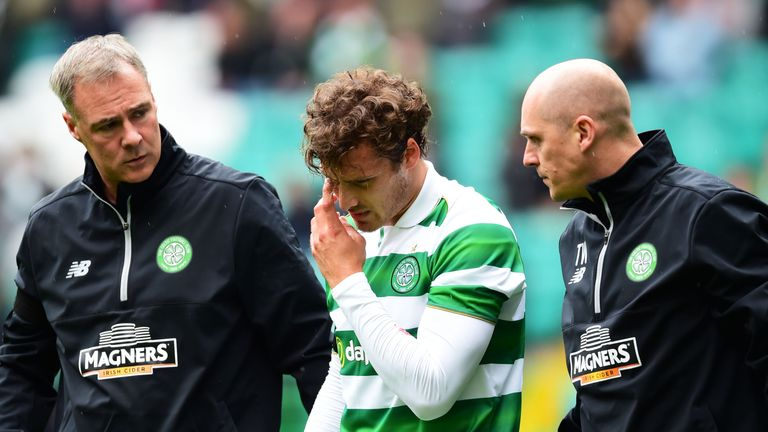 Celtic's Erik Sviatchenko goes off injured