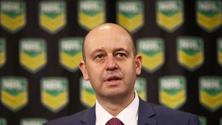 NRL CEO Todd Greenberg speaks to the media during a press conference