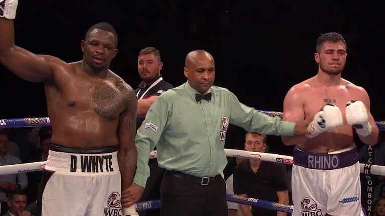Whyte was a unanimous winner over the White Rhino