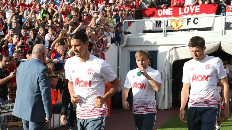 Ibrahimovic made his first appearance in a Manchester United shirt