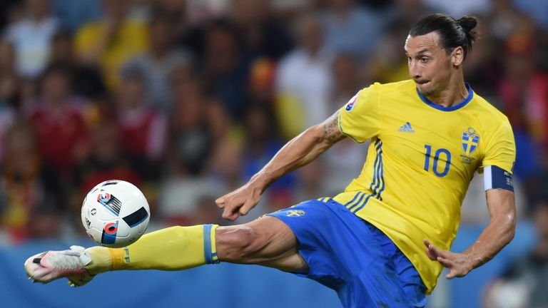 Sweden's forward Zlatan Ibrahimovic kicks the ball
