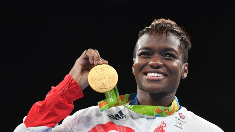 Nicola Adams receives her boxing gold medal