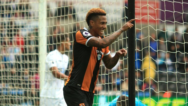 Abel Hernandez celebrates after scoring Hull's second goal