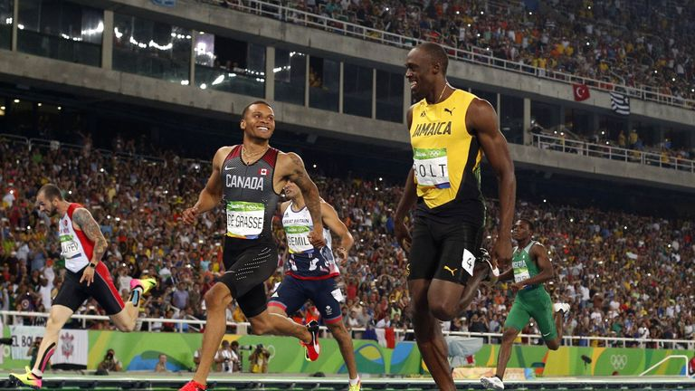 Andre De Grasse has received words of support from Usain Bolt