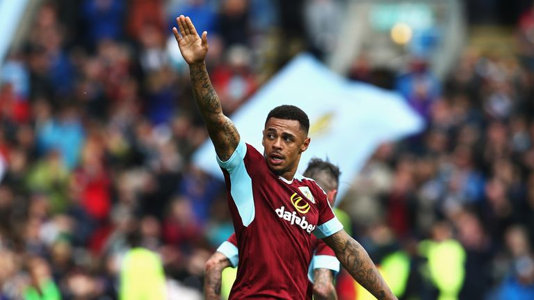 Burnley striker Andre Gray celebrates after scoring against Liverpool