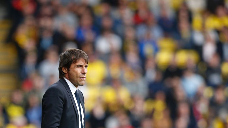 Antonio Conte watches from his technical area