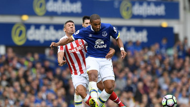 Everton's Ashley Williams (right) and Stoke City's Jonathan Walters battle for the ball during the Premier League match at Goodison Park