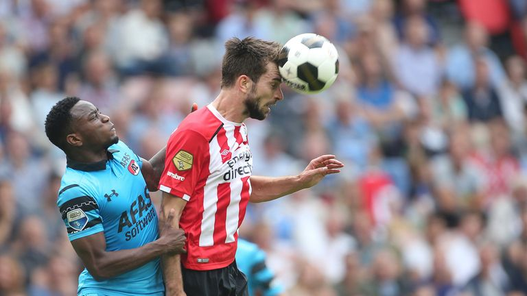 Ridgeciano Haps of AZ Alkmaar, Davy Propper of PSV during the Dutch Eredivisie match between PSV and AZ at the Philips Stadium on august 14, 2016 in Eindho