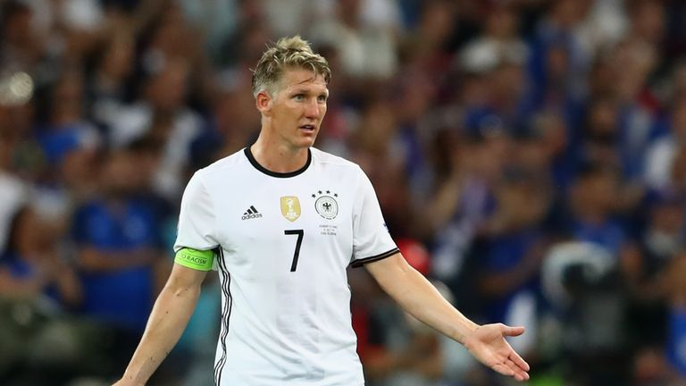 MARSEILLE, FRANCE - JULY 07:  Bastian Schweinsteiger of Germany reacts during the UEFA EURO semi final match between Germany and France at Stade Velodrome